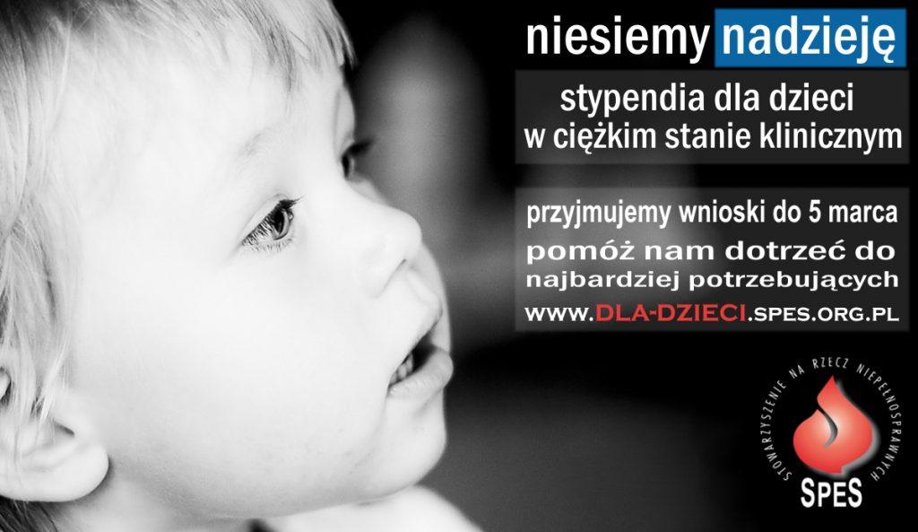 Plakat stypendia dla dzieci w ciężkim stanie fizycznym