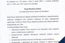 Treść powołania Pani Mirosławy Zielony na członka Rady Pomocy Społecznej IX Kadencji