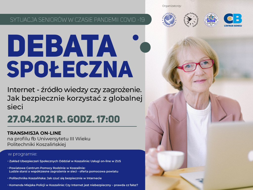 """Plakat debata społeczna """"Internet – źródło wiedzy czy zagrożenie. Jak bezpiecznie korzystać z globalnej sieci"""" - informacje zawarte w artykule"""